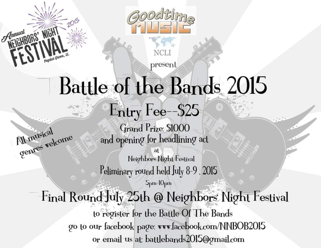 Poplar Grove Lions Club announces Neighbors' Night Battle of the Bands