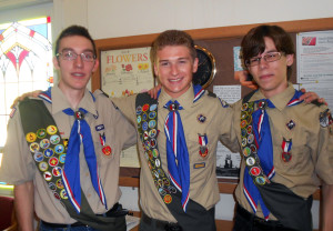 Three members of Boy Scout Troop 619 awarded Eagle Scout ranking