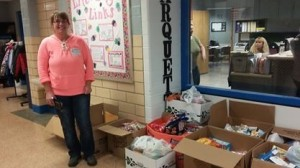 Students collect Treats for Troops care package items