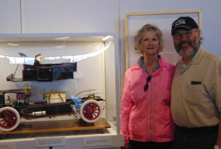 ANNE EICKSTADT PHOTO Belvidere Daily Republican Dan and Annette Rubino have loaned a model White Steam Car to the Vintage Wings & Wheels Mu-seum. The model runs on steam and is radio con-trolled.