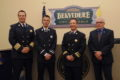 ANNE EICKSTADT PHOTO Belvidere Daily Republican 	Chief Al Hyser, Lieutenant Chris Letourneau, Captain Shawn Schadle, and Mayor Mike Chamberlain at the Belvidere Fire Dept. promotion ceremony.