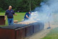 ANNE EICKSTADT PHOTO Belvidere Republican Captain Holmes counts the first batch of chickens to be barbequed at the joint Capron Firefighter and Lions Club fundraiser.