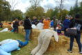 ANNE EICKSTADT PHOTO Belvidere Republican 	Guests thronged the Scarecrow Building area at the Belvidere Park District's Tractor Treat event.