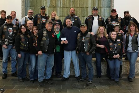 SUBMITTED PHOTO Belvidere Republican Members of the Fire and Iron Motorcycle Club presented a $1,600 check to the OSF HealthCare on Saturday, Nov. 3, at 9 a.m. at OSF Saint Anthony Medical Center, 5666 E. State St.