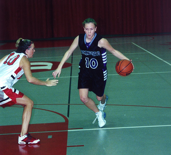 Heidi Burkhart in action during her playing days for Rockford University