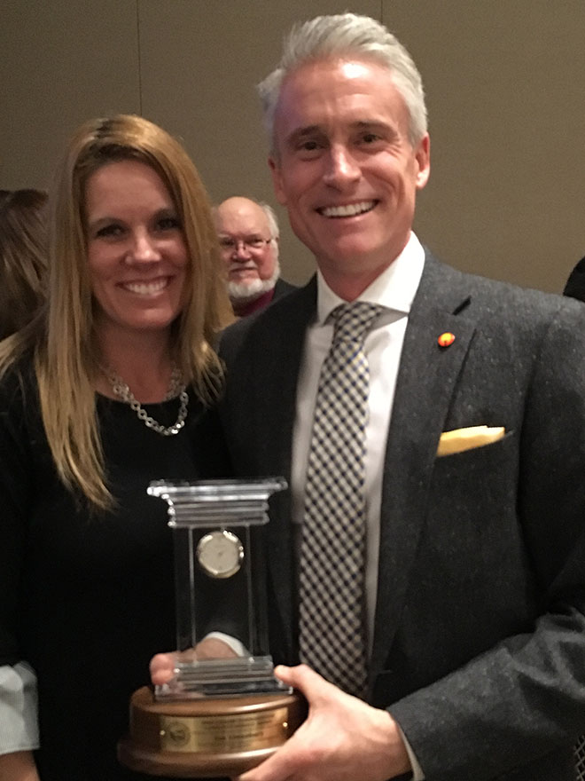 Rockford Park District Board of Commissioners President Ian Linnabary received Mike Cassidy Commissioner Community Service Award.