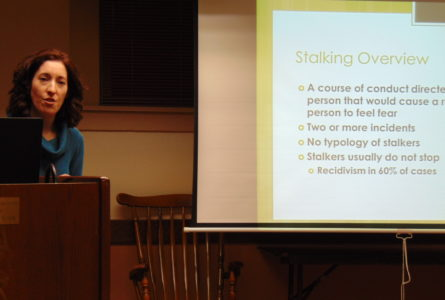 ANNE EICKSTADT PHOTO Belvidere Republican Becky Winstead of Remedies: renewing lives said that most, but not all, stalkers are people that the victim has been closely involved with.