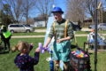 ANNE EICKSTADT PHOTOS Belvidere Republican 	Benny Benderson of Dabadooya pleases children with balloon critters and things at the B1 Assembly of God Easter Egg Hunt.