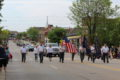 ANNE EICKSTADT PHOTOS Belvidere Republican 	With flags flying bravely, Veteran's Honor Guard leads off Belvidere's Memorial Day Parade.