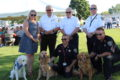 ANNE EICKSTADT PHOTO Belvidere Republican 	National Night Out at the Four Seasons community in Belvidere. [L-R] Standing: State's Attorney Tricia Smith, Sheriff Dave Ernest, Mayor Mike Chamberlain, Police Chief Shane Woody; Front Row: Comfort Dogs Samson and Kye with DC Matt Wallace, and Comfort Dog Bekah with Officer Tim Blankenship.