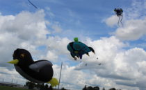 ANNE EICKSTADT PHOTO Belvidere Republican Huge kites filled the sky at Prairie Fields Sports Park on Saturday, Sept. 7.