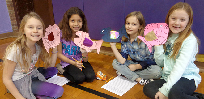 Young authors study, present 'The Rainbow Fish'