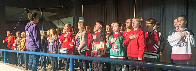 National Anthem at the Ice Hogs