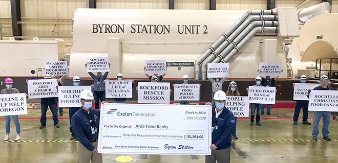 Megawatts to mega meals: Byron nuclear employees donate more than $35,000 to local food pantries