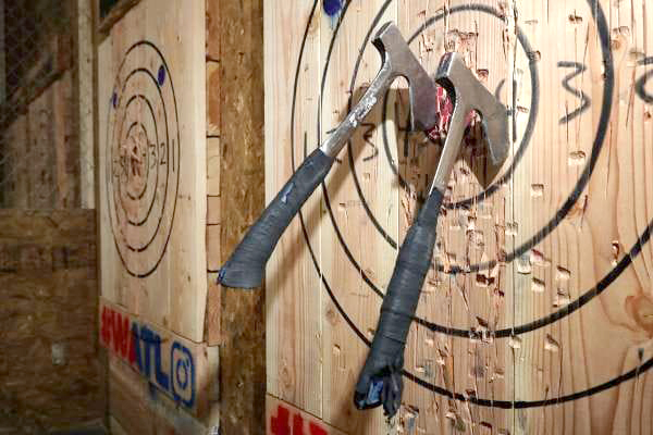Axe throwing activity new addition for Machesney Town Center
