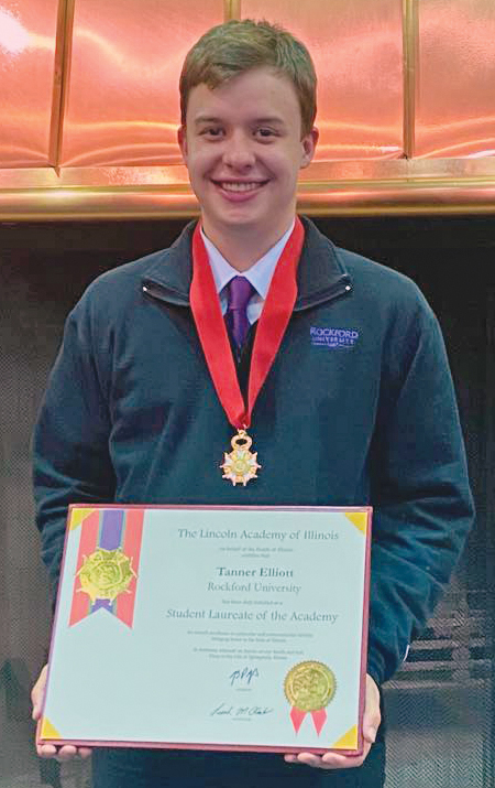 Harlem graduate Tanner Elliott named as Prestigious Statewide Student Laureate by the Lincoln Academy of Illinois